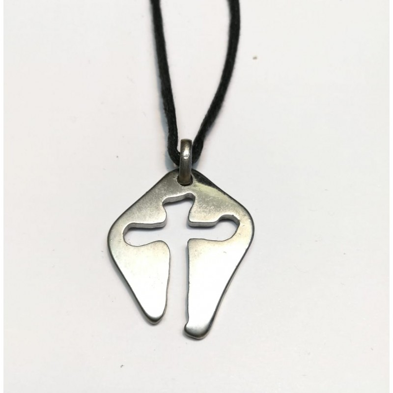 Collana con la Croce MARIA da 3,5 cm. Cromata