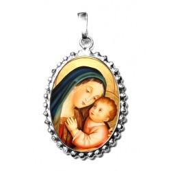 La Madonna del Buon Consiglio su Ciondolo in Argento 925°°° a Corona Lucido