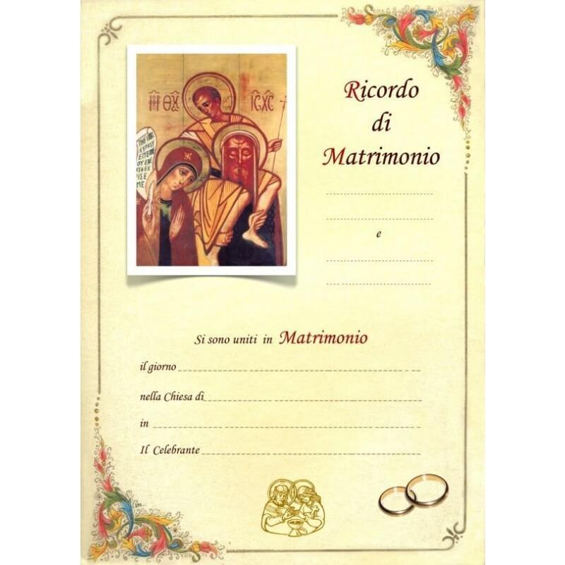 Pergamena In Ricordo del Matrimonio