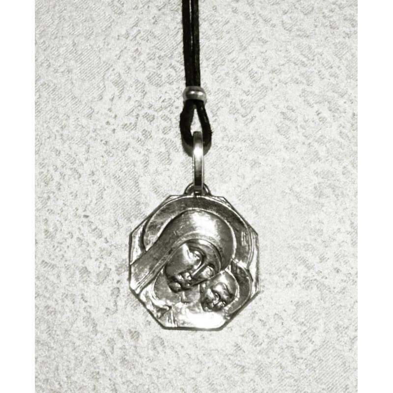 Collana Medaglia Ottagonale Madonna di Kiko (grande) in Argento 925°°