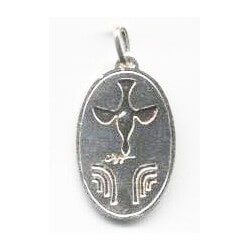 Collana Medaglia Ovale COLOMBA in Argento 925°°°